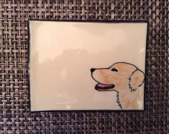 Ceramic Soap Dish with Dog - Golden Retriever