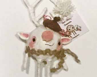 Cute acorn hat reindeer guy Spun Cotton Ornament---Christmas Holiday Handmade painted Doll deer Decoration.
