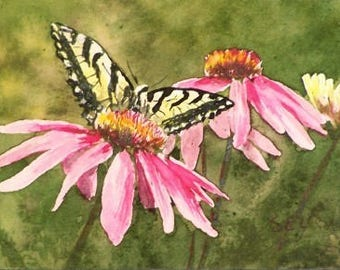 "ACEO Limited Edition Print - Butterfly on Coneflower - Reproduction - 2 1/2"" x 3 1/2"" - Floral Painting - Artist Trading Cards - Art Cards"