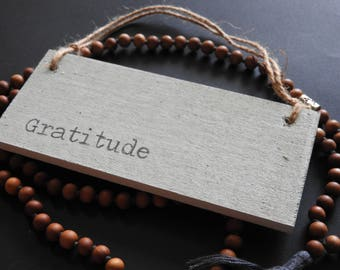 Seaglass Word of the year wooden wall sign -Gratitude