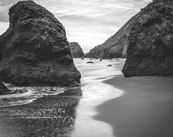 "Black and white seascape - beach photograph - California beach - gray landscape - living room decor - coastal wall art 16x20 ""Between Waves"""