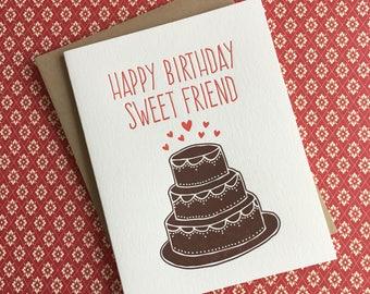 Happy Birthday Chocolate Cake Letterpress Card