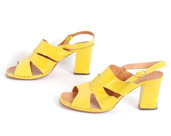 size 10 PLATFORM yellow leather 70s 80s 90s STRAPPY peep toe MULES high heel sandals