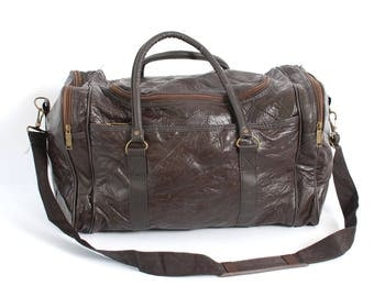 PATCHWORK brown leather 80s 90s DUFFEL travel overnight LARGE shoulder strap bag