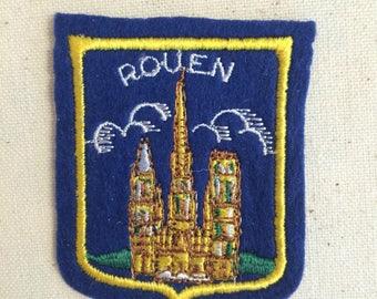 Vintage Souvenir European Travel Patch Badge Applique Rouen River Seine  France