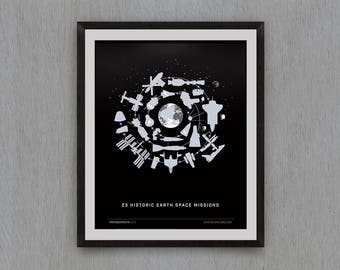 Above Earth (23 Earth Space Missions) Giclee Print