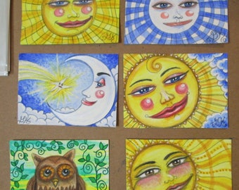6 Original ACEO Painting s Miniature Fantasy Art Happy Sun Moon Star Owl