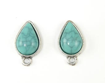 Turquoise Earring Studs, Antique Silver Teardrop Earring Findings, Aqua Silver Earring Posts with Loop for DIY Jewelry |B9-4|2