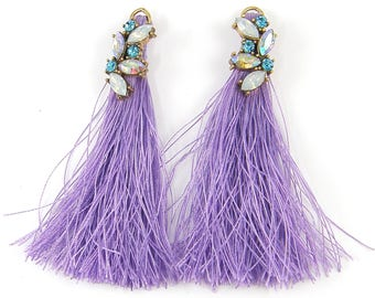 Purple Rhinestone Tassels Earring Findings, Jeweled Fringe Earring Dangles |LG1-9|2
