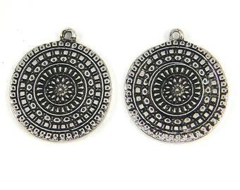 Silver Disc Earring Findings Tribal Antiqued Mandala Shield Pendant Charm Round Circle Silver Dangle Bohemian Boho Jewelry Supply |S14-1|2