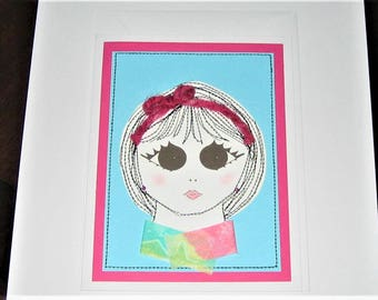 Greeting Card Mixed Media Girl with Ribbon
