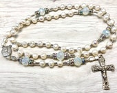 Rosary, vintage silver, catholic rosary, cultured pearls, opal white, communion rosary,  prayer beads  by Rosenkranz-Atelier
