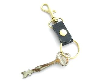 Brass Key Fob, Navy Blue Leather Key Ring, Nautical Gift, Gifts Under 20, Nautical Leather Fob, Blue Leather Key Fob, Leather Keychain