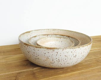 Stoneware Pottery Nesting Bowl Set in Satin Oatmeal Glaze - Set of 3, Handmade Rustic Ceramic Bowls