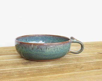 Stoneware One Handle Pottery Soup Bowl in Sea Mist Glaze