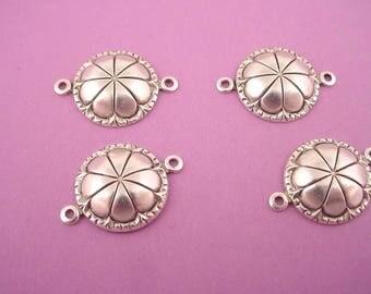 6 silver ox  art nouveau flower dapped round   connectors 17mm