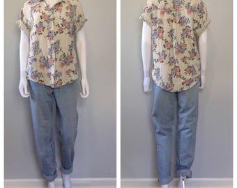 Vintage floral print short sleeve blouse linen blend blouse