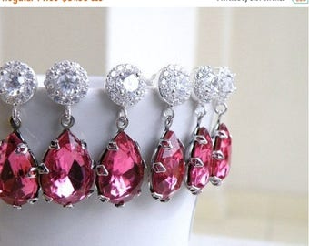 Summer Sale Fuchsia Rose Pink Earrings Foiled Teardrop Stone Rhinestone Silver BEV4-3 3pairs