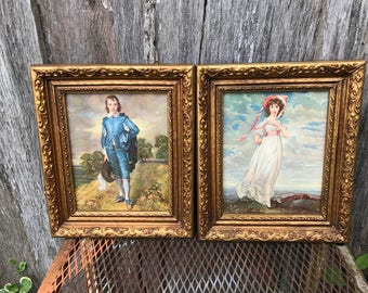 Pair of Vintage Gold Painted Wood Framed Pinkie and Blue Boy Pictures