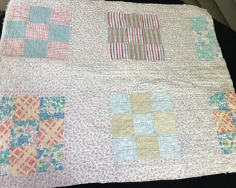 Vintage Hand Quilted Nine Patch Cutter Quilt Piece Set in Tiny Rose Print