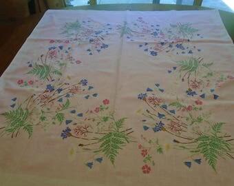 Small pink cotton tablecloth with bluebells, pink flowers and green leaves / card table size cotton tablecloth 33 x 33 inches