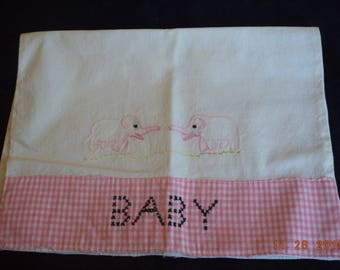 Vintage baby travel pillowcase white with pink gingham and elephants