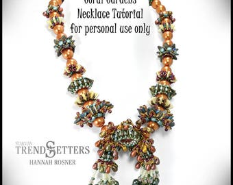 Just Released - Beading tutorial Coral Gardens Beaded Necklace peyote stitch & RAW pattern instructions DIY by Hannah Rosner