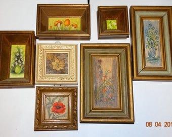 Vintage Miniature Oil Painting , Flowers in Basket, Signed M.V. Original Oil Painting by Mike Vogelvang