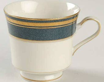 Mikasa Grande Ivory Imperial Lapis Blue Gold Trim footed cup L2826, Elegant China, Fine Porcelain Footed Cup, Regal Gold & Blue,