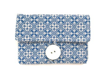 cream blue card case. womens card holder. fabric pouch. ivory white cute business card small wallet. cotton teacher teen girl gift