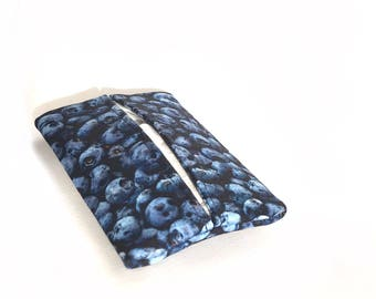 pocket tissue pouch.  blueberry gift for her. womens small travel tissue holder. teacher small gift ideas. mini pouch