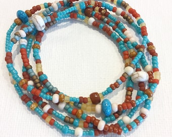 Bohemian Wrap Stretch Wrap Bracelet, Necklace, Howlite, Turquoise, Orange, Brown, Boho Stackable, Layering Accessory, Jewelry Back to School