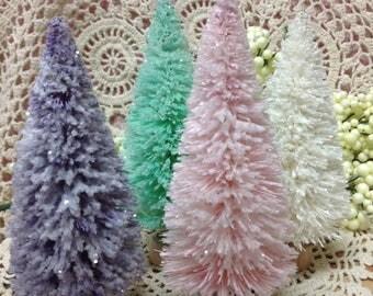 Lavender Bottle Brush Tree, Gilttered Tree, Lavender Christmas Glitter Trees,  Glitter Village Tree,  Pink Christmas Trees