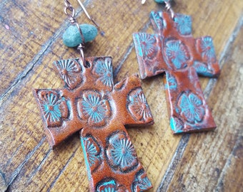 Leather Cross Earrings - Rustic - Floral - Hand Painted - Copper - Blue Apatite - Western Jewelry - Cowgirl Jewelry by Heart of a Cowgirl