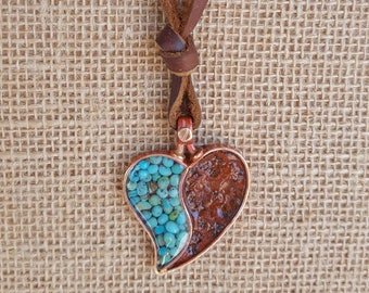 Copper Heart Necklace - Tooled Leather  - Genuine  Turquoise - Cowgirl Jewelry - Boho Necklace - Rustic Jewelry by Heart of a Cowgirl