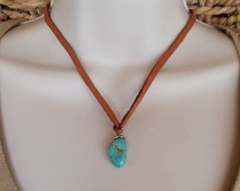Kingman Turquoise Nugget Necklace - Leather - 16 inch - Sterling Silver - Southwestern Jewelry - Cowgirl Jewelry - Boho - Rustic Jewelry