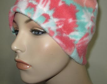 Chemo  Anti Pill Fleece Hat, Coral and Green  Winter Hat, Cancer, Chemo Hat, Alopecia
