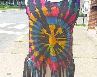 SALE Tie Dye Fringe Tank Top Womens Clothing  Festival Clothes  Hippie Top Boho Teens