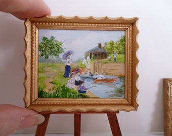 A Victorian Day out by the canal. An Original one 12th Miniature Acrylic Painting
