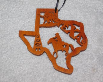 Wood State Ornament - Texas