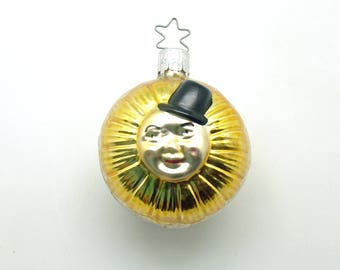 Vintage Christmas Glass Ornament Anthropomorphic Sunflower West Germany
