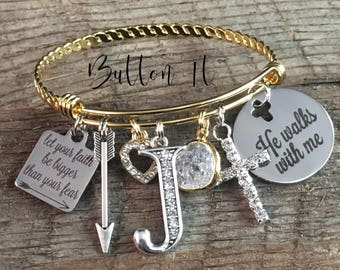 FAITH bracelet, BAPTISM gift, Christian jewelry, Gold Bangle charm bracelet, Inspirational jewelry, He walks with me, Arrow, birthday gift