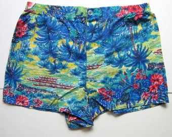 Vintage Hawaiian Shorts - Blue shorts, Tropical shorts, Island, Beach shorts, Blue, Palm Trees, Boats, Made in USA, Size large, 1980's