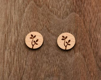 8 pcs Leaf Wood Charm, Carved, Engraved, Earring Supplies, Cabochons (WC 249)