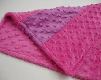Fuschia and Raspberry Double Sided Minky Baby Burp Cloth 12 x 14 READY TO SHIP On Sale