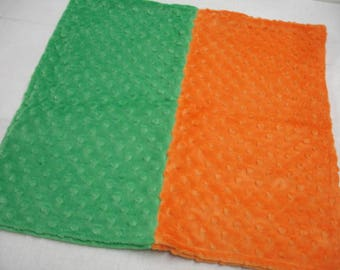 Orange and Green Minky Lovey Baby Blanket Double Sided 17 x 17 READY TO SHIP