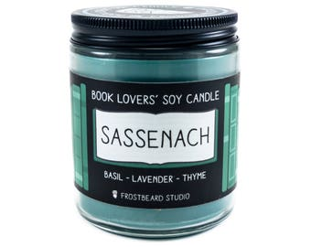 Sassenach - 8 oz Book Lover's Soy Candle - Book Candle -  Book Lover Gift - Scented Soy Candle - Frostbeard Studio