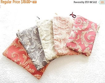 CLEARANCE - Upholstery pouch, tapestry zipper pouch, acanthus floral print purse, fabric clutch, flat zipper purse, 5 colors