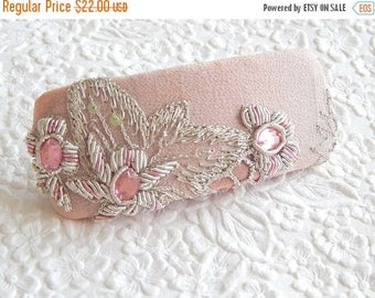 CLEARANCE - Pink beaded embroidered hair barrette, thick hair clip, hair accessory