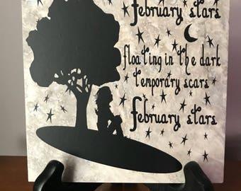 "February Stars ceramic tile 6x6"" wall decor"